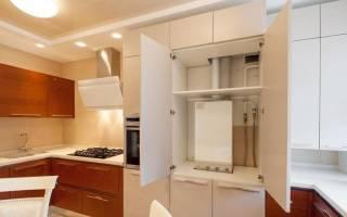 Как спрятать котел на кухне в шкаф?