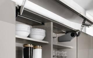 Как прикрутить амортизатор на кухонный шкаф?